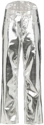 pushBUTTON Straight-Leg Corseted Metallic Trousers