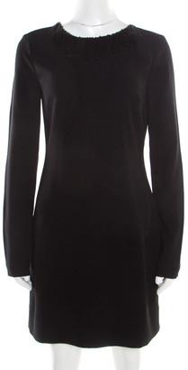 Diane von Furstenberg Black Fringe Embellished Lace Back Detail Margherita Dress M