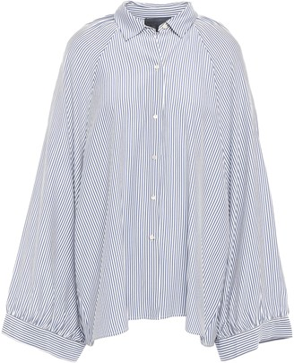 Nili Lotan Leah Oversized Striped Silk Crepe De Chine Blouse