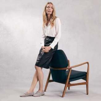 The White Company Leather Pencil Midi Skirt , Black, 6