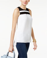 MICHAEL Michael Kors Colorblocked Textured Crepe Top