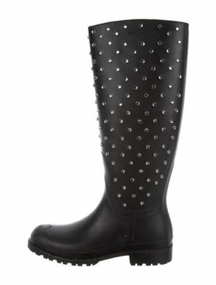 Saint Laurent Rubber Crystal Embellishments Rain Boots Black