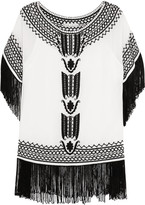 Alice + Olivia Natalie Fringed Embroidered Silk-georgette Top - White