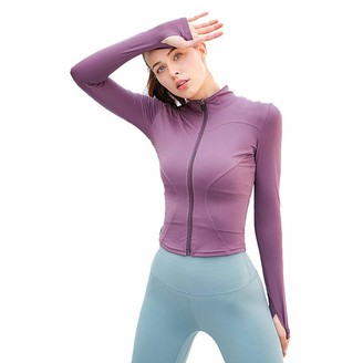 YICHEN Women's Yoga Jacket Long Sleeve Slim Fit Casual Yoga Sports Running Tops with Full Zip Purple