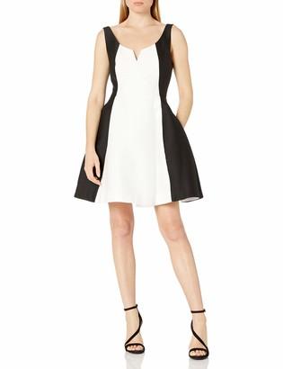 Halston Women's Sleeveless Scoop Notch Neck Color Blocked Dress