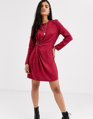 And other stories & jacquard snake print knot-detail mini dress in pink