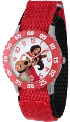Disney Elena of Avalor, Elena Girls' Stainless Steel Time Teacher Watch,Red Bezel, Red Hook and Loop Nylon Strap with Black Backing