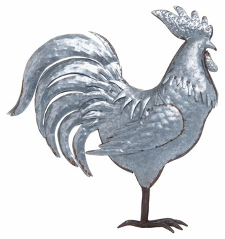 Transpac Metal Silver Spring Farmhouse Rooster Decor