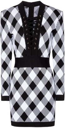 Balmain Gingham stretch-knit minidress