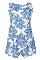 Quiz Curve Blue And White Crochet Paisley Print Skater Dress
