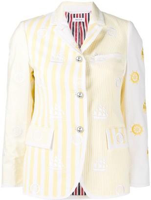 Thom Browne Striped Pattern Nautical Design Blazer