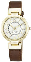 Nine West Goldtone Brown Leather Strap Watch, NW-1908WTBN