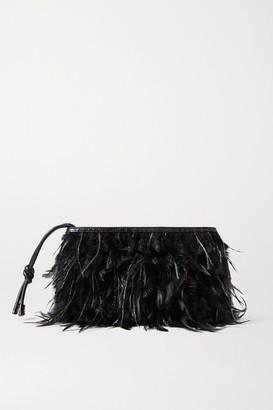 Dries Van Noten Feather-embellished Croc-effect Leather Clutch - Black