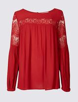 Per Una Crinkle Lace Slash Neck Long Sleeve Blouse
