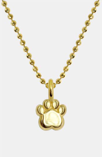 Alex Woo 'Mini Paw' 14k Gold Pendant Necklace
