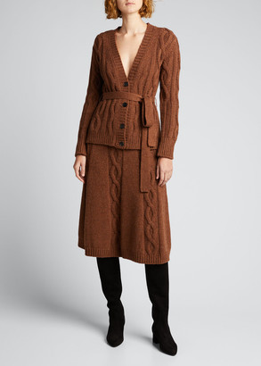 Brock Collection Cable-Knit Belted Cashmere Cardigan