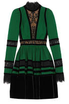 Elie Saab Lace And Velvet-paneled Pleated Crepe Mini Dress - Forest green