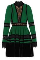Elie Saab Lace And Velvet-paneled Pleated Crepe Mini Dress - Forest green