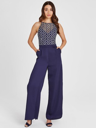 Little Mistress Geo Crochet Top Jumpsuit - Navy