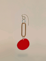 Diane von Furstenberg Red Disc Long Earring