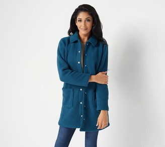 Denim & Co. Regular Sherpa Bonded with Fleece Snap Jacket