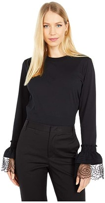 See by Chloe Embellished Long Sleeve T-Shirt (Black) Women's Clothing