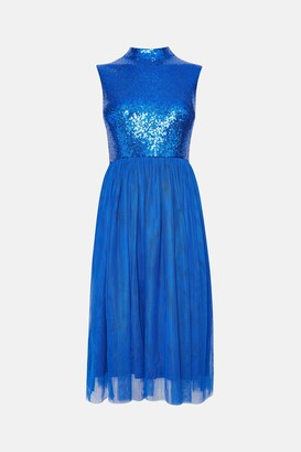Coast High Neck Sequin Bodice Mesh Skirt Dress