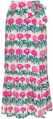 Adriana Degreas Floral-Print Silk Midi Wrap Skirt