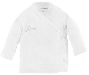 Under the Nile Baby Organic Cotton White Long Sleeve Side-Snap Top with Stork Embroidery