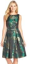 Eliza J Women's Metallic Jacquard Fit & Flare Dress