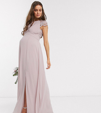 TFNC Maternity bridesmaid lace sleeve maxi dress in pink
