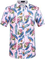 SSLR Men's Birds Prints Elastic Short Sleeve Shirt
