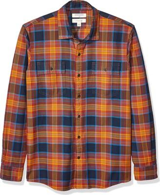 Goodthreads Amazon Brand Mens Slim-Fit Long-Sleeve Plaid Twill Shirt