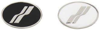 we11done Silver Oval Logo Brooch Set