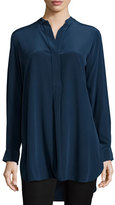Joseph Stand-Collar Silk Tunic Top