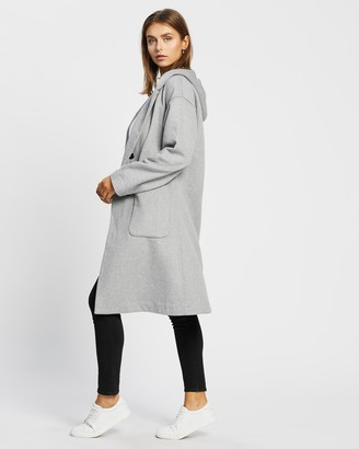 Atmos & Here Atmos&Here - Women's Grey Winter Coats - Annabelle Wool Blend Hooded Coat - Size 8 at The Iconic