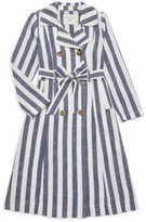 Habitual Girl's Stripe Double-Breasted Linen-Blend Trench Coat