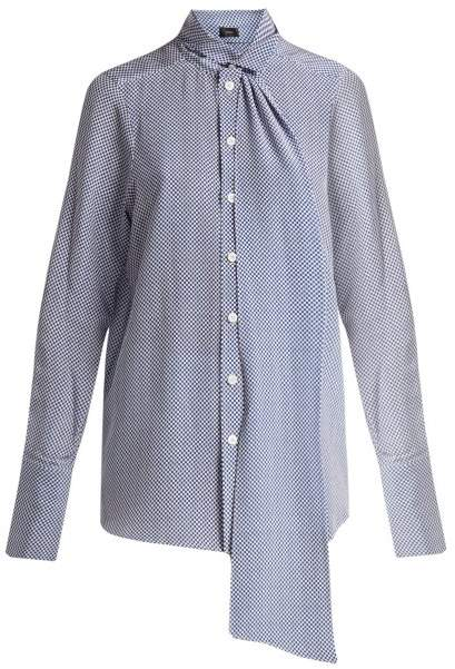 Joseph Linc Checker Print Silk Blouse - Womens - Blue White