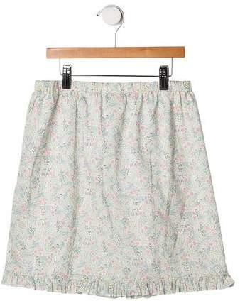 Papo d'Anjo Girls' Ruffle-Trimmed Floral Print Skirt