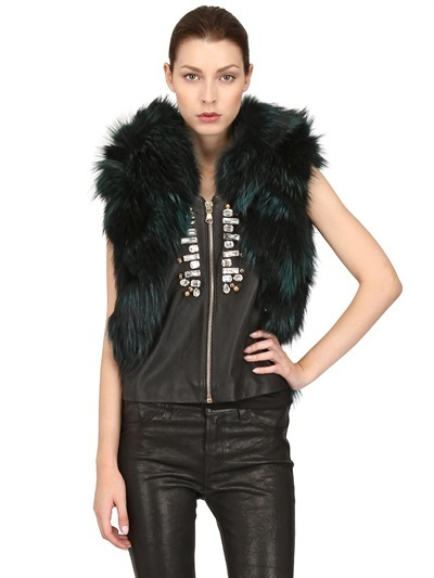 Embroidered Leather & Fox Fur Vest
