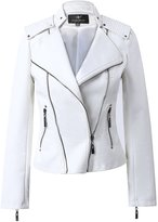 LingLuoFang LLF Women's Faux Leather Moto Biker Short Jacket With Epaulet