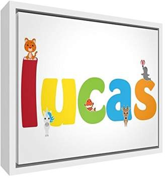 Camilla And Marc Feel Good Art Framed Box Canvas with Solid Wooden Surround in Cute Illustrative Design, Boy's Name (64 x 44 x 3 cm, Large, Lucas)