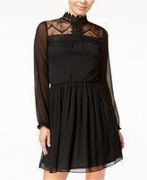 Amy Byer Juniors' Mock-Neck Lace-Trim Shift Dress