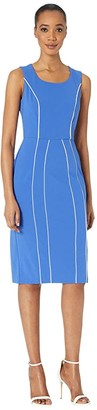 Donna Morgan Stretch Knit Crepe Sheath Dress with Contrast Piping (Blue Iris) Women's Clothing