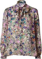 Beige Multi Color Printed Silk Blouse