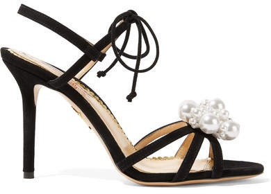 Charlotte Olympia Tallulah Faux Pearl-embellished Suede Sandals - Black