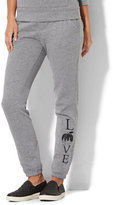 New York & Co. Cozy Montauk Fleece Pant - Logo Print