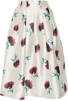 Oscar de la Renta Floral-print Silk-satin Skirt - White