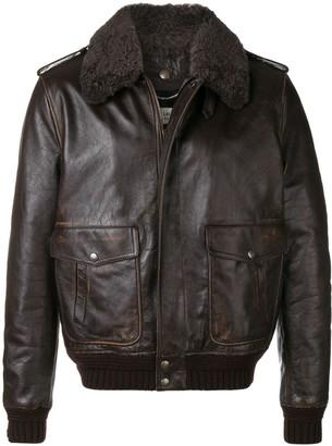 Saint Laurent Shearling Collar Leather Jacket