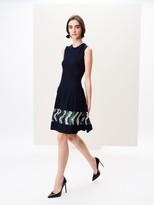 Oscar de la Renta Sequin Embroidered Wool Dress